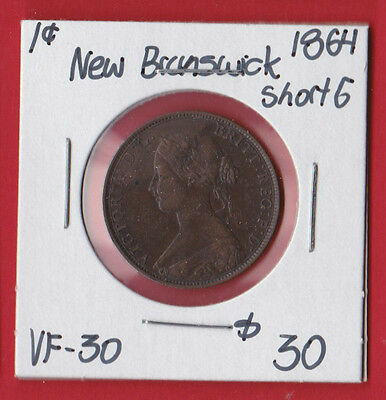1864 New Brunswick Canada Short 6 One Cent Coin See Scan 6406 - VF/EF