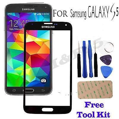 Genuine Glass Black Front Outer Screen Replacement For Samsung Galaxy S5 + Tools