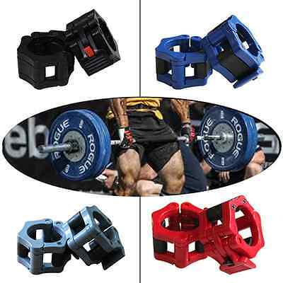 Pair of 50mm Olympic Barbell Clamp Collar Clip Dumbbell Spinlock Lift New