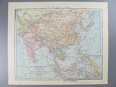 Original Color Map of South-Eastern Asia and Malaysia, 1887