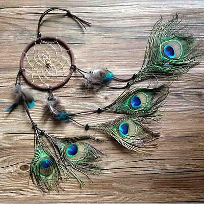 """Dream Catcher peacock feather wall #A hanging decoration ornament-22"""" Long Craft"""