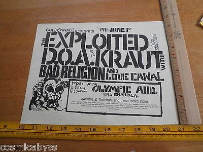 80's ORIGINAL Punk Rock concert poster The Exploited DOA Kraut Bad Religion CA