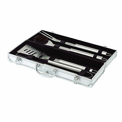 Top Star 291333 - Set di 4 utensili per barbecue in acciaio in ossidabile con