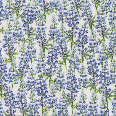Bluebell Flowers on Cream Floral Quilt Fabric FQ or Metre *New*