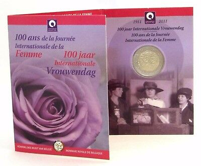 Belgien 2 Euro Frauentag Gedenkmünze 2011 Internationaler Tag der Frau Coin Card