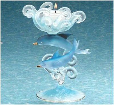 Dolphin Candle Holder Clear Blue Glass Swimming Ocean Wave Diamonds Gold