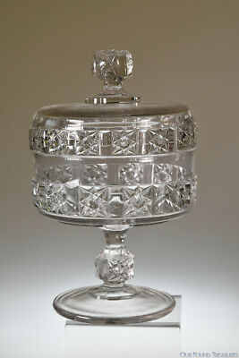 c. 1886 No. 600 STARS AND BARS by Bellaire Goblet CRYSTAL Covered Compote