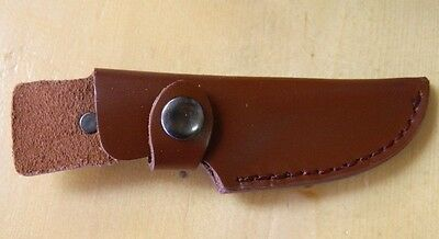 "5 - NEW Brown Leather Knife 6 1/2""  Sheath with Snap Closure SMALL SALE LOT OF 5"