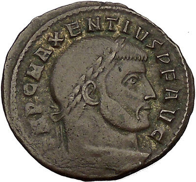 Maxentius Constantine the Great Enemy Ancient Roman Coin Fides Trust Rare i52978