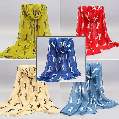 Newly Women Accessory Dachshund Dog Print Animal Scarf Large Soft Shawl Wrap
