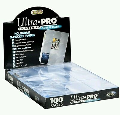 Trading Card A4 Sleeves - 5 Ultra Pro 9 Pocket Platinum Pages MTGPokemon.
