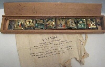 Old 1944 Hand Painted Mother of Pearl Storybook Link Bracelet + wood box w/ Ad