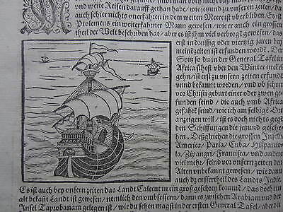 MÜNSTER/MUNSTER: Cosmographia On Sea Travel Geography - 1592