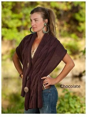 New Simone Layne Moby Wrap Hand Knit Brown Cable Sweater Cotton Nursing Scarf
