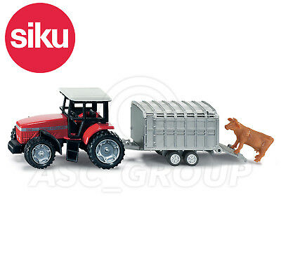 SIKU NO.1640 1:87 Scale TRACTOR WITH LIVESTOCK TRAILER & COW Dicast Model / Toy