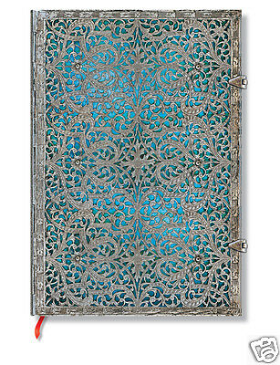 Paperblanks Writing UnLined Grande Size Journal Silver Filigree Blue 8 x11.5