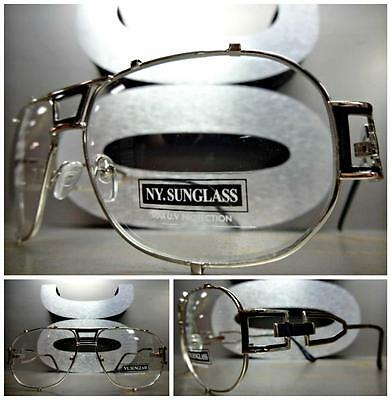 CLASSIC VINTAGE RETRO AVIATOR Style Clear Lens EYE GLASSES Silver & Black Frame