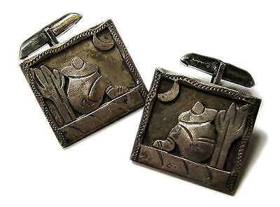 SIGNED Taxco Sterling Silver Hand Made Cufflinks Mid Century Mexican Cactus VTG