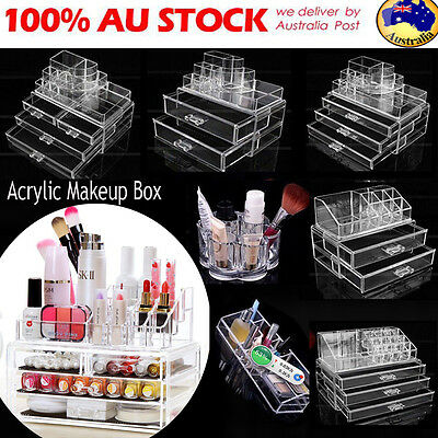 Acrylic Makeup Cosmetic Holder Jewellery Case Storage Organizer Box 9 Drawer