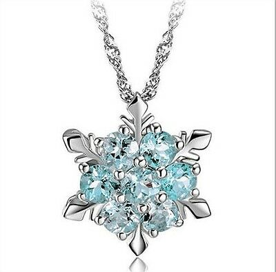 Classic Kids Charms Snowflake Blue Crystal Frozen Flower Silver Necklace Pendant