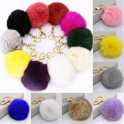 Handbag Key Ring Rabbit Fur Ball PomPom Cell Phone Car Pendant Keychain