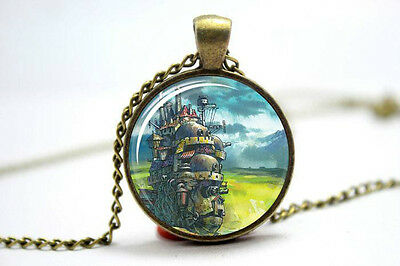 Howls Moving Castle Glass Picture Art Pendant Necklace Japanese Anime
