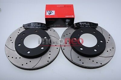 FRONT PERFORMANCE DRILLED GROOVED BRAKE DISCS + PADS KIT MITSUBISHI L200 2.5 DiD