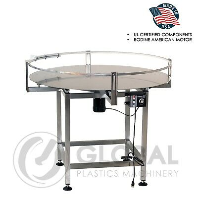 "Globaltek Stainless Steel 48"" Dia.  Accumulating Rotary Turn Table"