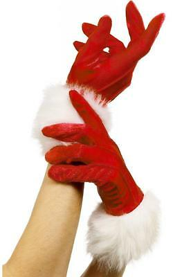 Red Miss Santa Sexy Christmas Ladies Santa Gloves with White Marabou Trim 29253