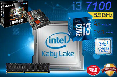 Kit Scheda Madre H110M Processore Intel I3 7100 Kaby Lake 4Gb Ram Ddr4 Dvi/hdmi