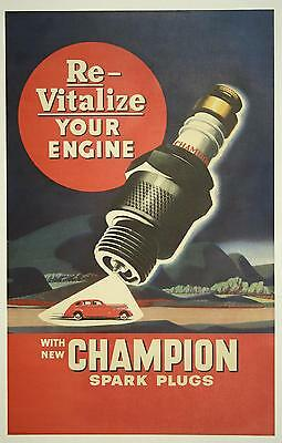 Original Vintage Posters With New Champion Spark Plugs 1950's
