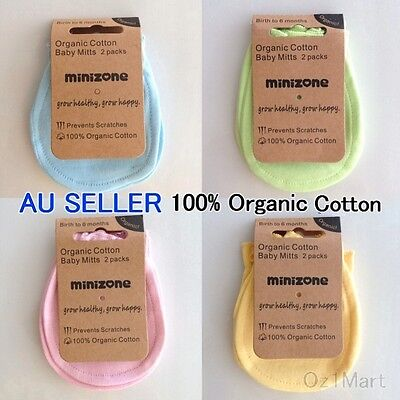 2 Pairs 100% Organic Cotton Blue Pink Baby Newborn Mittens Gloves for Boys Girls