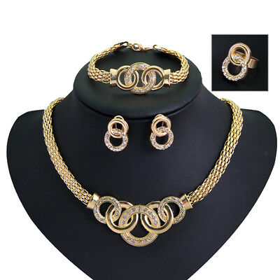 Women Wedding Bridal Costume Jewelry Sets Copper Plated Necklace Earring Set