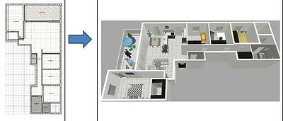 Design/decorate your house? Converting 2D house/apartment drawings to 3D service