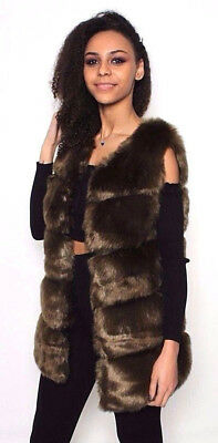 WOMENS Ladies Oversized Gilet FAUX FUR Waistcoat Giles Jacket Bodywarmer 8-22