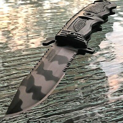 2 PC TAC FORCE SPRING ASSISTED TACTICAL URBAN CAMO FOLDING POCKET KNIFE Open