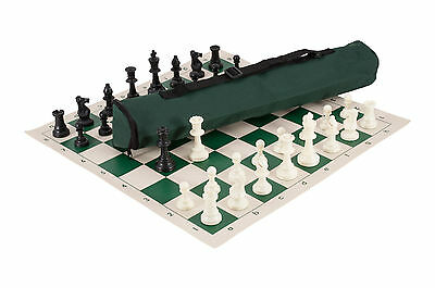 Quiver Chess Set Combination - Triple Weighted - Forest Green Bag / Board