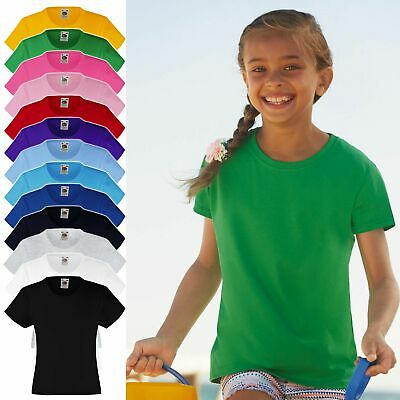 10er Pack Kinder Mädchen T-Shirt FRUIT OF THE LOOM Valueweight Tee 61-005-0 NEU