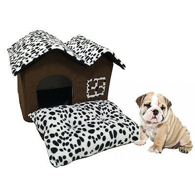 Pet Dog Cat Luxury High-end Double Roof Pet House Room Bed Portable Kennel