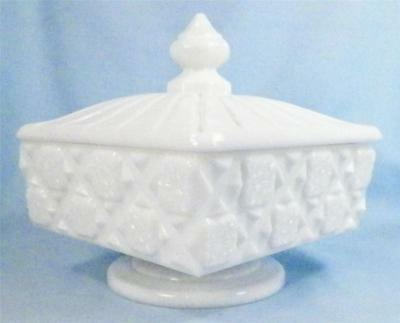 Westmoreland Old Quilt Compote Covered Milk Glass 500 Checkerboard Vintage NICE
