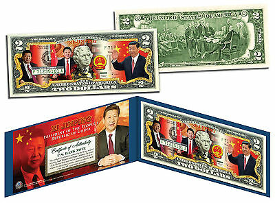 XI JINPING * President of the People's Republic of China * Colorized $2 Bill US