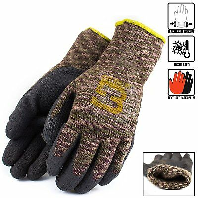 BetterGrip Safety Winter Lining Military Brown Knit Latex Dip Nylon Work Gloves