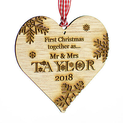 Personalised Wooden Christmas Tree Decoration. First Christmas Heart Bauble Gift
