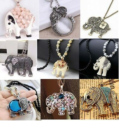 Kids Jewelty Charm Elegant Elephants Pendant Sweater Chain Retro Silver Necklace