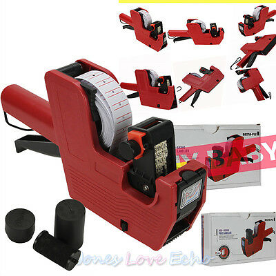 Red MX-5500 8 Digits Price Tag Gun+5000 White w/ Red Lines Labels+1 Ink