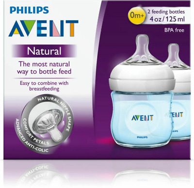 Avent - Natural Feeding Bottle BLUE 2 PACK 125ml 4oz Baby Kids Small Drink Teats