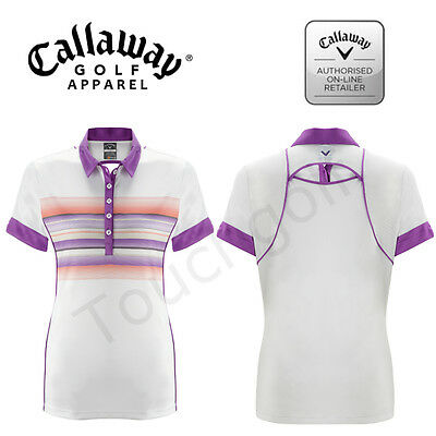 Callaway Golf Women/Ladies SS Golf Polo Shirt - Bright White-CGKS5041-New.