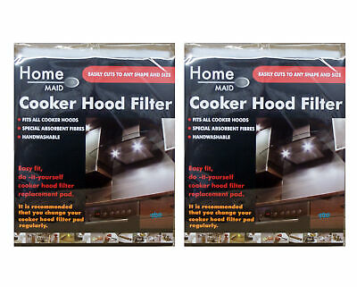 2 x Universal Cooker Hood Extractor Fan Filter - Cut To Size - 47cm x 57cm