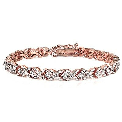 Rose Gold Tone 1ct TDW Diamond Miracle Set X Tennis Bracelet