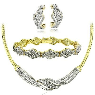 0.75 Ct Diamond Twist Necklace, Bracelet, Earrings Set - Gold Tone
